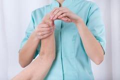 Hand rehabilitation in hospital Stock Photo