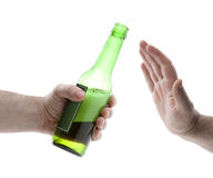 Hand reject a bottle of beer Royalty Free Stock Image