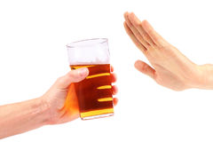 Hand reject a glass of beer Stock Images