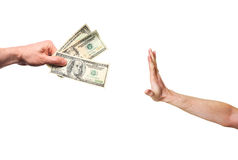 Hand rejecting money Stock Photography