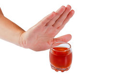 Hand rejects alcohol. Stop drinking Stock Images