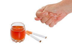 Hand rejects cigarette and alcohol. Stop smoking a Royalty Free Stock Images