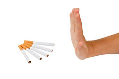 Hand rejects cigarette. Stop smoking. Royalty Free Stock Photography