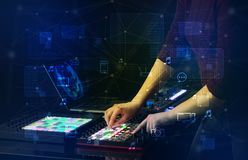 Hand mixing music on midi controller with play music and multimedia concept. Hand remixing music on midi controller with play music and multimedia  conceptn royalty free stock photos