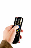 Hand with remote. Isolated w / path Royalty Free Stock Photo