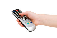 Hand with remote control royalty free stock photos