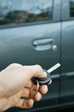 Hand with remote control car key Royalty Free Stock Photos
