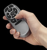 Hand and remote control Stock Photos