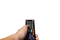 Hand with remote control isolated on white background Royalty Free Stock Photos