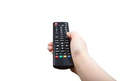 Hand with remote control pointing forward isolated Stock Image