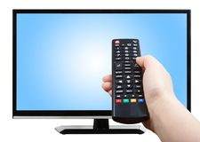 Hand with remote control pointing at modern TV set Stock Photography