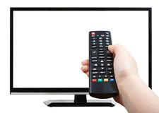 Hand with remote control pointing at modern TV set Royalty Free Stock Images