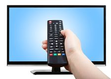 Hand with remote control pointing at modern TV set Stock Image