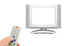 Hand with remote control and tv. Isolated on white background Royalty Free Stock Photography