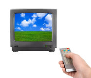 Hand with remote control and tv Royalty Free Stock Photos