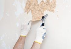 Hand removing wallpaper Stock Photos