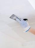 Hand Repairs Gypsum Plasterboard Frame Stock Photo