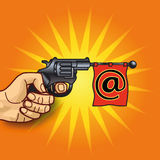 Hand with revolver, email and messaging Royalty Free Stock Images
