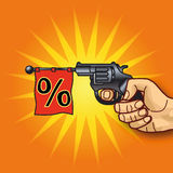 Hand with revolver and percentages Stock Image
