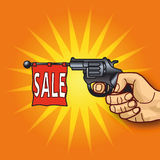 Hand with revolver and sale. Hand with revolver, business and sale Royalty Free Stock Photo