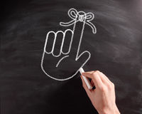 Hand with Ribbon Drawing on Black Chalkboard Royalty Free Stock Photos