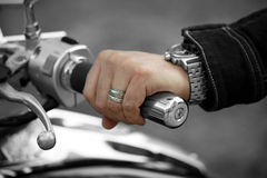 Hand rider on the handlebars Stock Photos