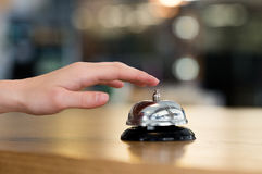 Hand ring bell at hotel Stock Photos