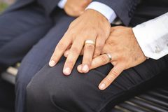 A hand with ring of gay couple in the park on their wedding day. Hand with ring of gay couple in the park on their wedding day stock photos