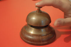 Hand ringing service bell royalty free stock photos