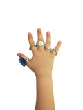 Hand with rings. Child hand with full of rings Stock Image