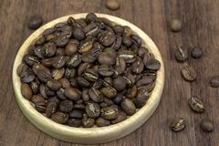 Hand roasted coffee with frying pan sort dry process or natural Stock Photos