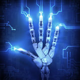 Hand of Robot. And circuit board Royalty Free Stock Image