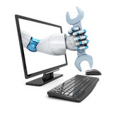 Hand robot and key Stock Photography