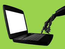 Hand of the robot and the laptop. A 3D rendered digital image. The cyborg press enter. Completely isolated background Stock Photos
