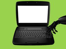 Hand of the robot and the laptop Royalty Free Stock Photos