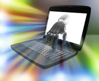 Hand of the robot and the laptop. A 3D rendered digital image. The cyborg press enter Stock Image