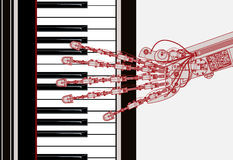 Hand robot  playing piano Stock Photo