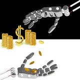 Hand of the robot puts money Royalty Free Stock Photography