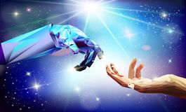 Hand robot stars vector illustration stock photo
