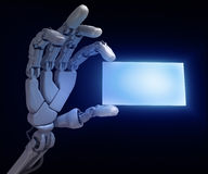 Hand of robot. And visiting card Royalty Free Stock Image