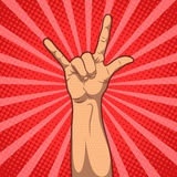 Hand in rock n roll sign, pop art illustration.  Stock Photography