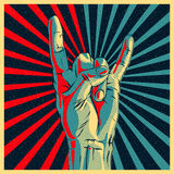 Hand in rock n roll sign. Vector Eps10 illustration Stock Image