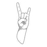 Hand rock sign of the horns gesture vector Stock Photos