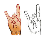 Hand in rock sign. Vector illustration Royalty Free Stock Images