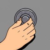 Hand roll combination lock pop art style vector Royalty Free Stock Photo