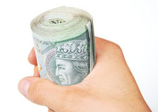 Hand and roll of polish Zloty Royalty Free Stock Image