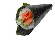 Hand roll salmon sushi. Hand roll (temaki) salmon sushi roll-design element Royalty Free Stock Photo