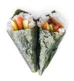 Hand rolled temaki sushi Royalty Free Stock Image