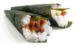 Hand rolled temaki sushi Stock Photography