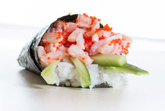 Hand rolled temaki sushi Stock Images